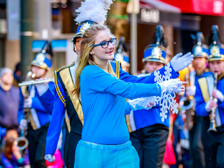 macys: Portland, Oregon, USA - November 27, 2015: Canby High School Marching Band in the annual My Macys holiday Parade across Portland Downtown. Editorial