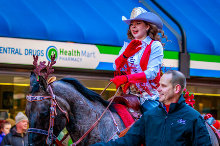 macys: Portland, Oregon, USA - November 27, 2015: Clackamas County Equestrian Fair Court march in the annual My Macys holiday Parade across Portland Downtown. Editorial
