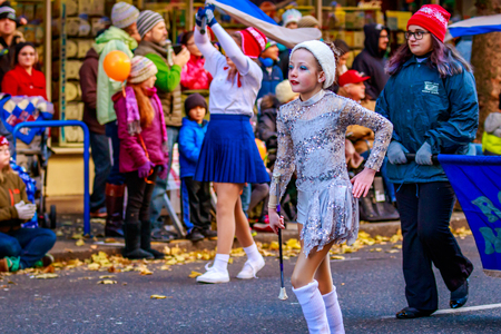 marching band: Portland, Oregon, USA - November 27, 2015: Robert Gray Middle School Marching Band in the annual My Macys holiday Parade across Portland Downtown. Editorial
