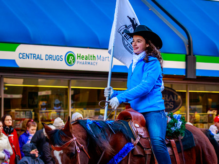 macys: Portland, Oregon, USA - November 27, 2015: Columbia County Equestrian Fair Court march in the annual My Macys holiday Parade across Portland Downtown. Editorial