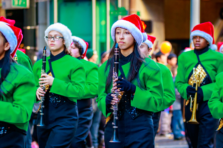 macys: Portland, Oregon, USA - November 27, 2015: Parkrose High School Marching Band in the annual My Macys holiday Parade across Portland Downtown.