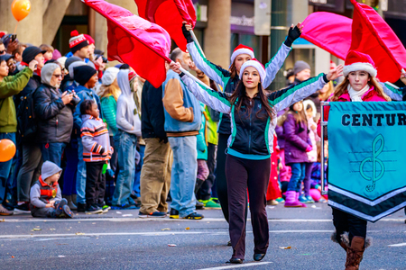 macys: Portland, Oregon, USA - November 27, 2015: Century High School Marching Band in the annual My Macys holiday Parade across Portland Downtown.