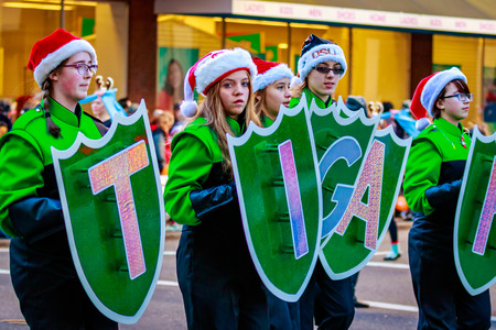 macys: Portland, Oregon, USA - November 27, 2015: Tigard High School Marching Band in the annual My Macys holiday Parade across Portland Downtown.