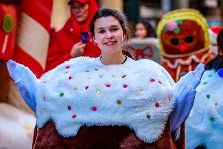 macys: Portland, Oregon, USA - November 27, 2015: Costumed characters march in the annual My Macys holiday Parade across Portland Downtown.