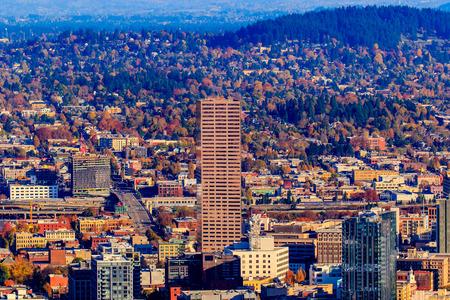 urban scenics: Portland Oregon Downtown Cityscape in the Fall colors. Stock Photo