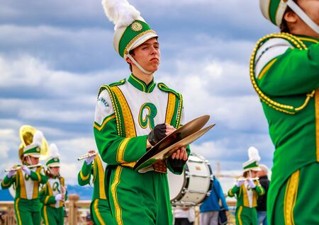 roosevelt: Portland, Oregon, USA - June 11, 2016: Roosevelt High School Marching Band in the Grand Floral Parade during Portland Rose Festival 2016.