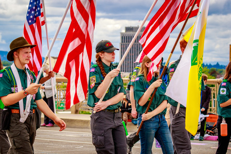 scouts: Portland, Oregon, USA - June 11, 2016: Boy Scouts of America in the Grand Floral Parade during Portland Rose Festival 2016. Editorial