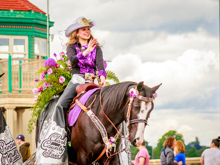 county fair: Portland, Oregon, USA - June 11, 2016: Clark County Fair Court in the Grand Floral Parade during Portland Rose Festival 2016.