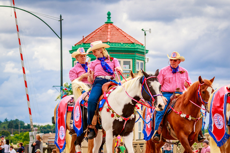 county fair: Portland, Oregon, USA - June 11, 2016: Clark County Fair Mounted Patrol in the Grand Floral Parade during Portland Rose Festival 2016. Editorial