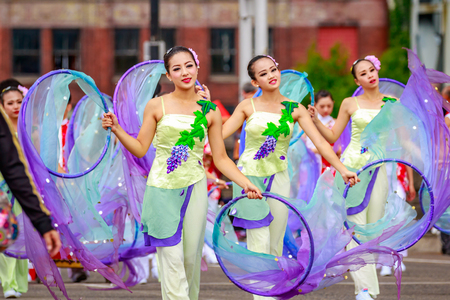 marching band: Portland, Oregon, USA - June 11, 2016: Shu-Te Home Economics & Commercial High School Marching Band in the Grand Floral Parade during Portland Rose Festival 2016. Editorial