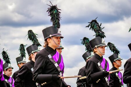 marching band: Portland, Oregon, USA - June 11, 2016: Sunset High School Marching Band in the Grand Floral Parade during Portland Rose Festival 2016.