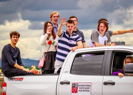 silent film: Portland, Oregon, USA - June 11, 2016: International Youth Silent Film Festival Winners in the Grand Floral Parade during Portland Rose Festival 2016.