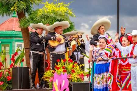 presented: Portland, Oregon, USA - June 11, 2016: Latino Network presented by Portland Rose Festival Foundation Float in the Grand Floral Parade during Portland Rose Festival 2016. Editorial