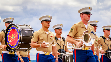 marching band: Portland, Oregon, USA - June 11, 2016: Third Marine Aircraft Wing Marching Band in the Grand Floral Parade during Portland Rose Festival 2016.