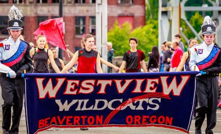 marching band: Portland, Oregon, USA - June 11, 2016: Westview High School Marching Band in the Grand Floral Parade during Portland Rose Festival 2016. Editorial