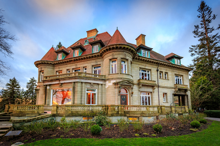 Portland, Oregon, USA - February 7, 2016: Originally built in 1909, Pittock mansion is a French Renaissance-style chateau in the West Hills of Portland, Oregon.