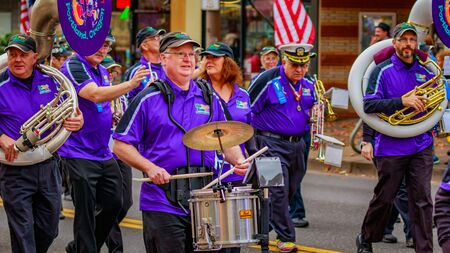 Portland, Oregon, USA - November 11, 2016: The Beat Goes On Marching Band in the annual Ross Hollywood Chapel Veterans Day Parade, in northeast Portland.