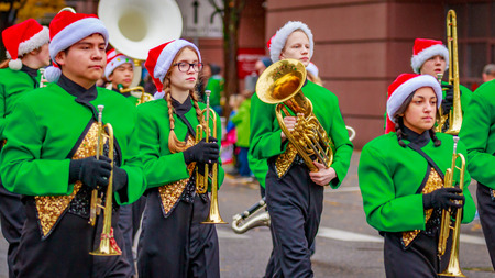 Portland, Oregon, USA - November 25, 2016: Parkrose High School Marching Band in the annual My Macys holiday Parade across Portland Downtown.