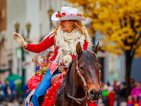 Portland, Oregon, USA - November 25, 2016: Miss Vancouver Rodeo in the annual My Macys holiday Parade across Portland Downtown.