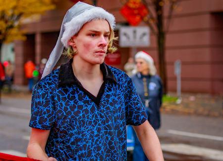 Portland, Oregon, USA - November 25, 2016: Hillsboro High School Marching Band in the annual My Macys holiday Parade across Portland Downtown.
