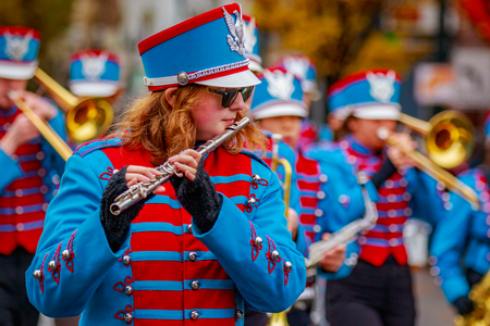 Portland, Oregon, USA - November 25, 2016: Madison High School Marching Band in the annual My Macys holiday Parade across Portland Downtown. Editorial