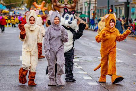 Portland, Oregon, USA - November 25, 2016: Costumed characters march in the annual My Macys holiday Parade across Portland Downtown. Editorial