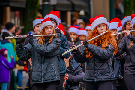 Portland, Oregon, USA - November 25, 2016: Baker Prairie Middle School Marching Band in the annual My Macys holiday Parade across Portland Downtown. Editorial