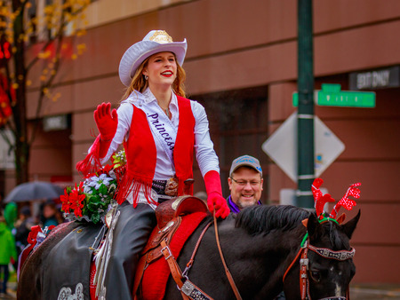 county fair: Portland, Oregon, USA - November 25, 2016: Clark County Fair Court march in the annual My Macys holiday Parade across Portland Downtown. Editorial