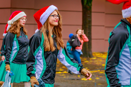 Portland, Oregon, USA - November 25, 2016: Canby High School Marching Band in the annual My Macys holiday Parade across Portland Downtown. Editorial