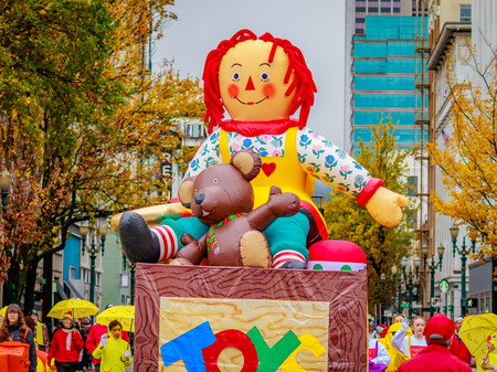 Portland, Oregon, USA - November 25, 2016: Toys float in the annual My Macys holiday Parade across Portland Downtown. Editorial