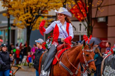 Portland, Oregon, USA - November 25, 2016: Clark County Fair Court march in the annual My Macys holiday Parade across Portland Downtown. Editorial