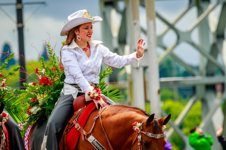 county fair: Portland, Oregon, USA - June 10, 2017: Clark County Fair Court in the Grand Floral Parade, during Portland Rose Festival 2017.
