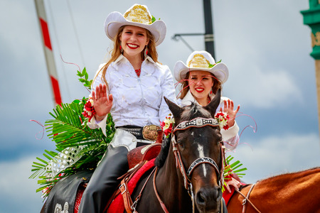 Portland, Oregon, USA - June 10, 2017: Clark County Fair Court in the Grand Floral Parade, during Portland Rose Festival 2017.