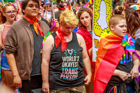 Portland, Oregon, USA - June 18, 2017: Bridging Voices: Oregon's Only Queer Straight Allied Youth Chorus in Portland's 2017 Pride Parade.