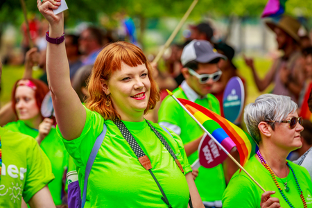 Portland, Oregon, USA - June 18, 2017: Kaiser Permanente in Portlands 2017 Pride Parade, which reflects the community diversity. Editorial