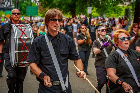 Portland, Oregon, USA - June 18, 2017: The Last Regiment Of Syncopated Drummers in Portland's 2017 Pride Parade, which reflects the community diversity.