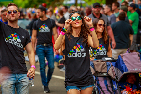 Portland, Oregon, USA - June 18, 2017: Adidas in Portland's 2017 Pride Parade, which reflects the community diversity.