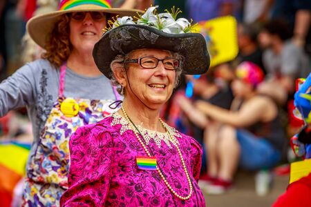 Portland, Oregon, USA - June 18, 2017: Portland Raging Grannies in Portlands 2017 Pride Parade, which reflects the community diversity.
