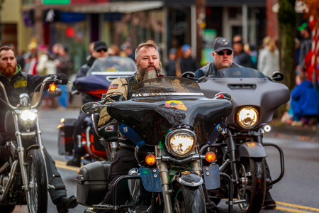 Portland, Oregon, USA - November 11, 2017:  Combat Veteran Motorcycle Association in the annual Ross Hollywood Chapel Veterans Day Parade, in northeast Portland.