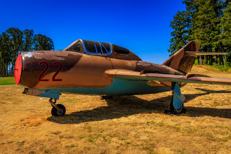 McMinnville, Oregon - August 21, 2017: Mikoyan-Gurevich MiG-15UTI Midget (Shenyang JJ-2) 22 Black on exhibition at Evergreen Aviation & Space Museum.