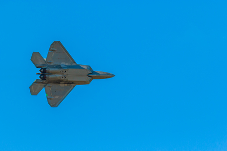 Hillsboro, Oregon - September 23, 2017: US Air Force F-22 Raptor perform in Oregon International Air Show.