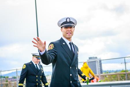 Portland, Oregon, USA - June 9, 2018: Portland Fire & Rescue in the Grand Floral Parade, during Portland Rose Festival 2018.