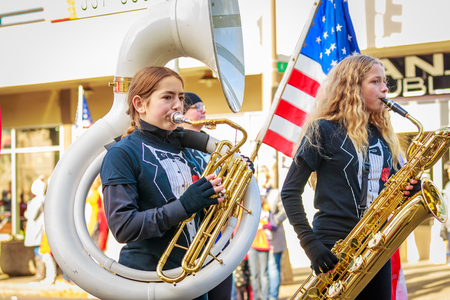 Portland, Oregon, USA - November 12, 2018: Beaumont Middle School Marching Band in the annual Ross Hollywood Chapel Veterans Day Parade, in northeast Portland.