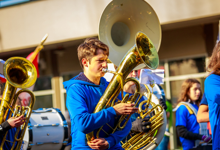 Portland, Oregon, USA - November 12, 2018: Mt. Tabor Middle School Marching Band in the annual Ross Hollywood Chapel Veterans Day Parade, in northeast Portland.