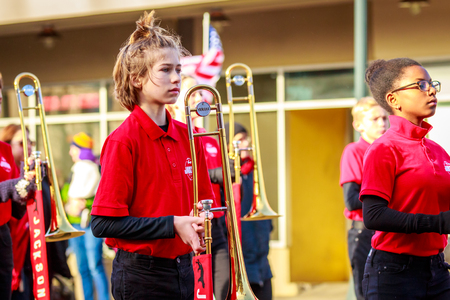 Portland, Oregon, USA - November 12, 2018: Jackson Jaguar Marching Band in the annual Ross Hollywood Chapel Veterans Day Parade, in northeast Portland. Editorial