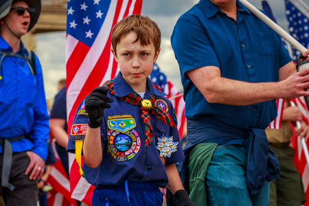 Portland, Oregon, USA - June 8, 2019: Boy Scouts of America in the Grand Floral Parade, during Portland Rose Festival 2019.