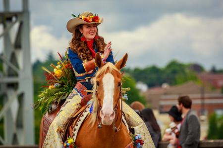 Portland, Oregon, USA - June 8, 2019:  in the Grand Floral Parade, during Portland Rose Festival 2019.