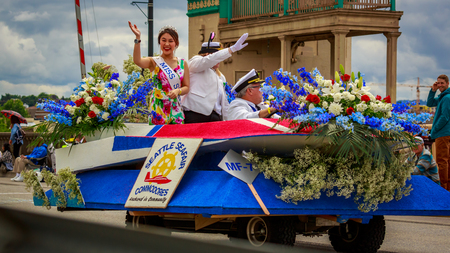 Portland, Oregon, USA - June 8, 2019: Seattle Seafair Commodores Mini-Float in the Grand Floral Parade, during Portland Rose Festival 2019.