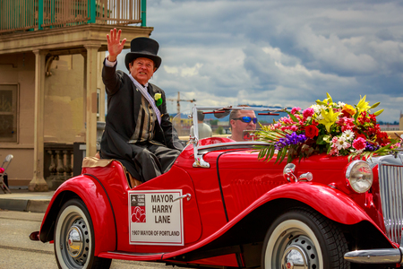 Portland, Oregon, USA - June 8, 2019: Mayor Harry Lane in the Grand Floral Parade, during Portland Rose Festival 2019.
