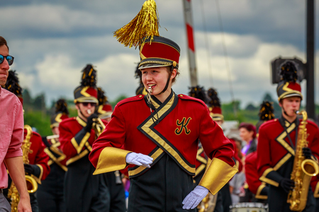 Portland, Oregon, USA - June 8, 2019: Kingston High School Buccaneer Marching Band in the Grand Floral Parade, during Portland Rose Festival 2019.